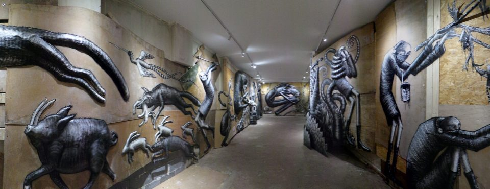 Art installations take up every inch of wall space