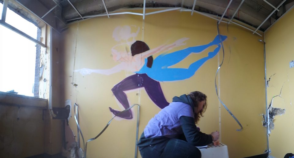 Her mural depicted a man running with a ballerina