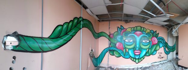 Amaras completed piece in the abandoned building