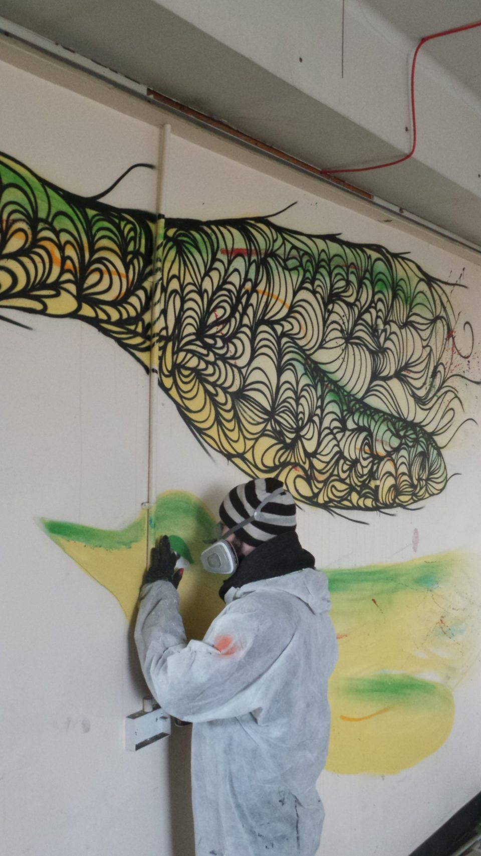 Kef will eventually add almost 1000 lines to this mural