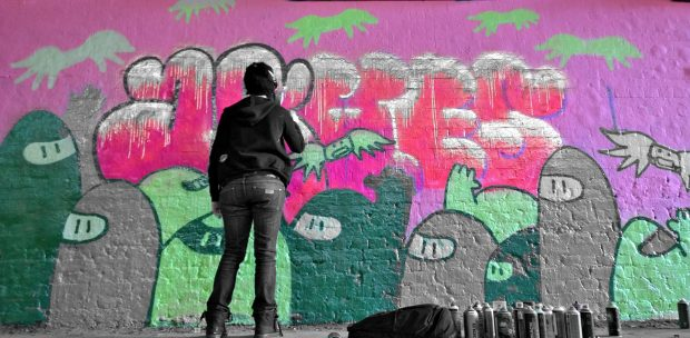 Ashes 57 used her trademark character to good effect in this mural.  She normally paints in black and white so I've doctored the pic a little bring some of the black and white back