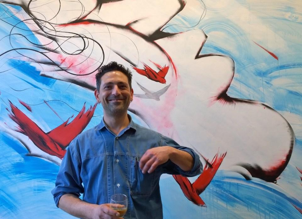 Italian artist Giacoma Bufarini at the launch of 'Street Art, Fine Art'