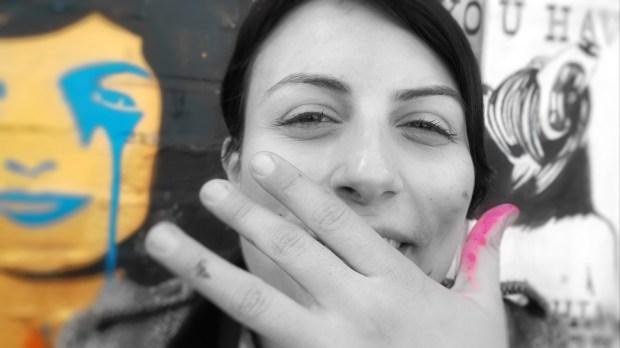 Andrea in playful mood on Blackall Street