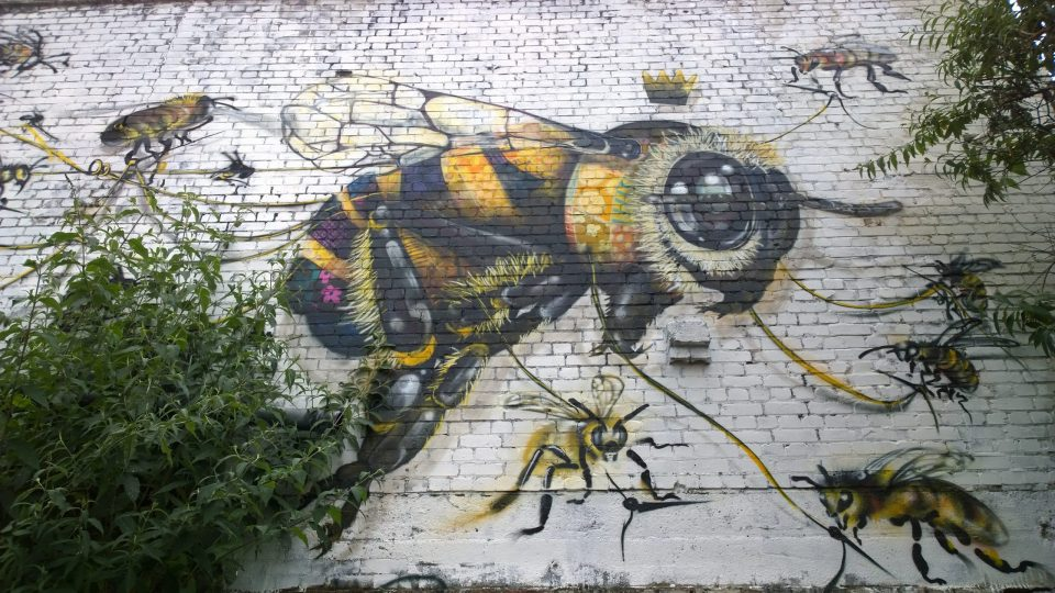 A giant bee on Hackney Road