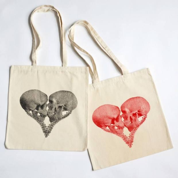 Skull Heart Bags by Cassandra Yap