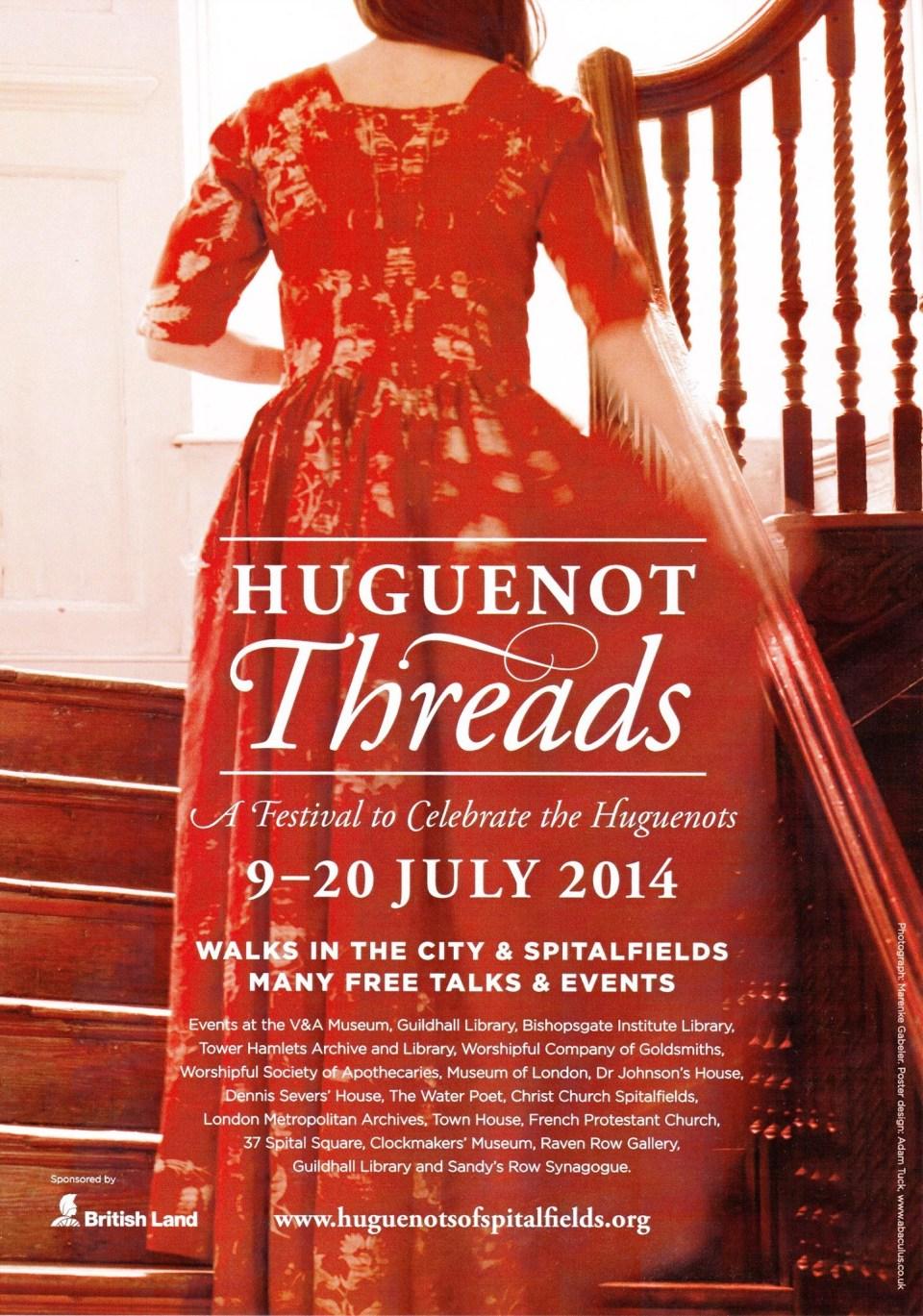 Poster for the Huguenot Threads festival