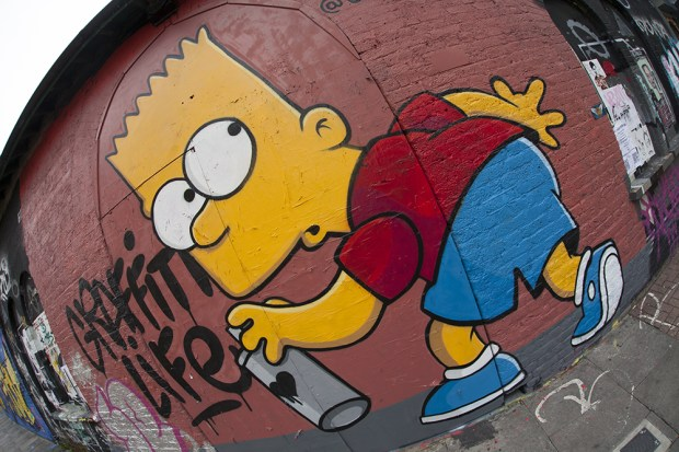 Pedley Street is a spot where street art is always changing.  This cheeky Bart Simpson piece is from Graffiti Life who have their offices around the corner