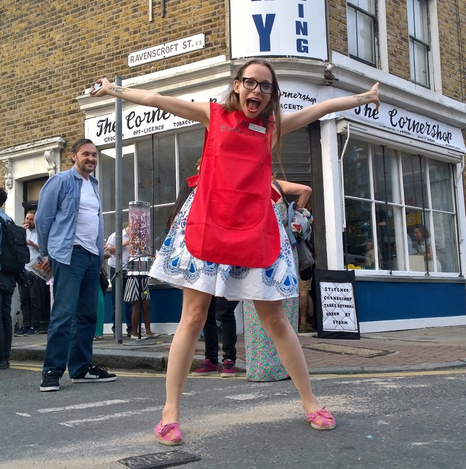 Lucy outside the Cornershop on the Opening night