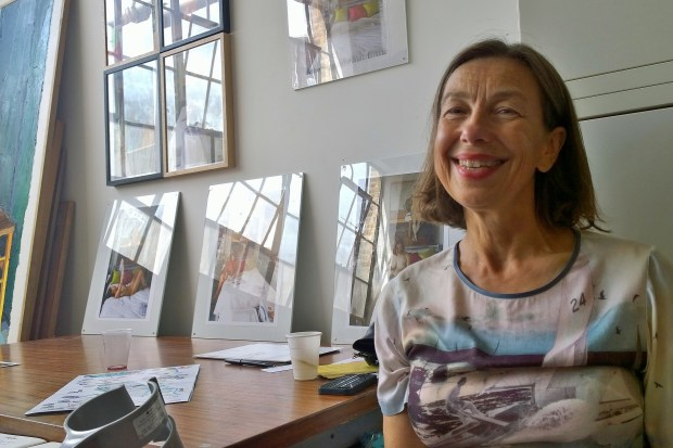Artist Janet Bell in her studio