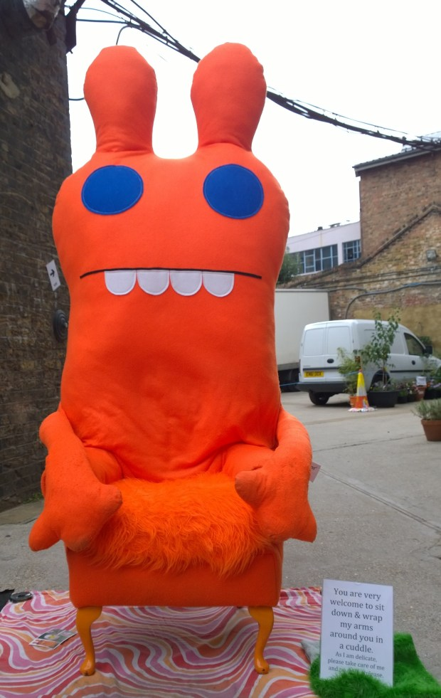 This chap was placed outside the Dollyolli Studios for people to sit on