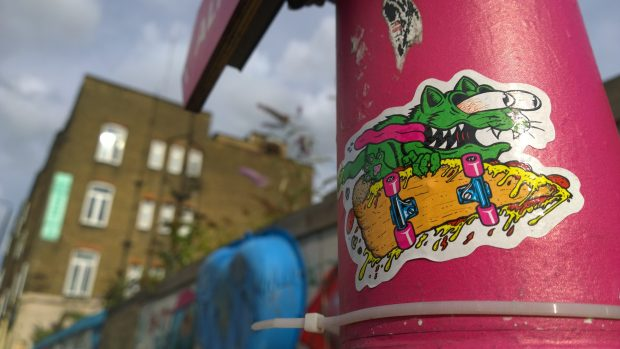 A cheeky little sticker from Rowdy with some of the Wick's warehouses in the background