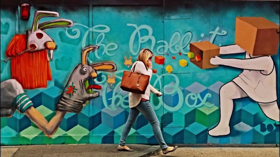 AR and Boxhead mural on Leonard Street