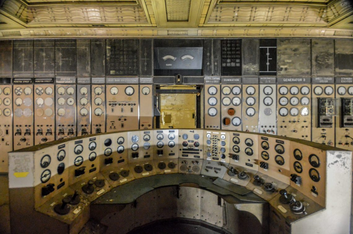 In one of the remarkably preserved control rooms