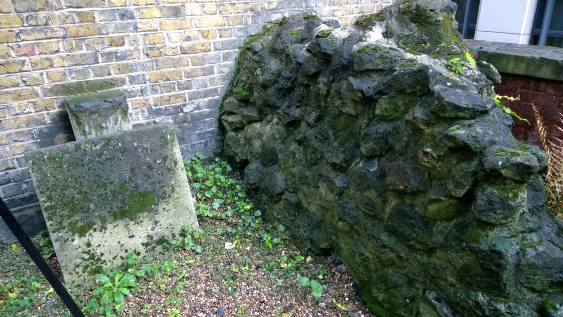 An old piece of wall possibly part of the old Christchurch Greyfriars churchyard