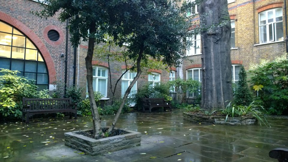Formerly part of the preaching nave of the church of the Dominican Friary at Black Friars now kept as a garden