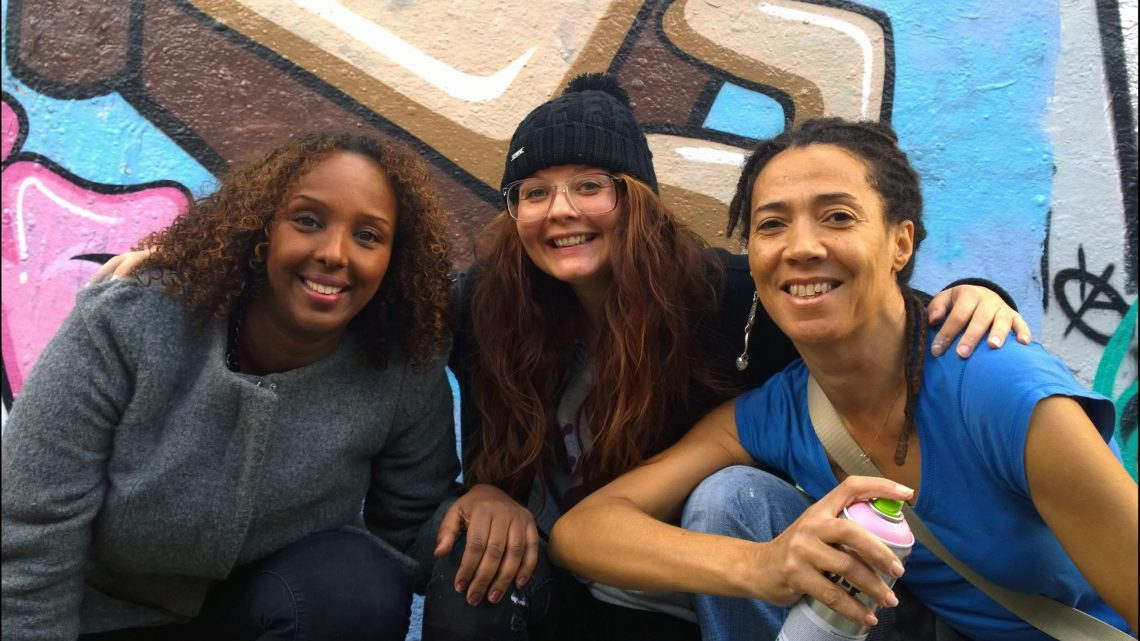 Ayaan, Artista and Joyce Treasure during the filming of the Kickstarter video