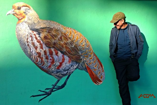 ATM next to his painting of a Grey Partridge in Acton