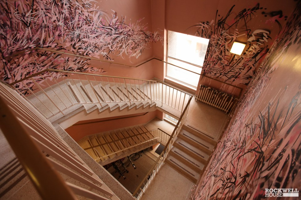 Looking down the painted staircase