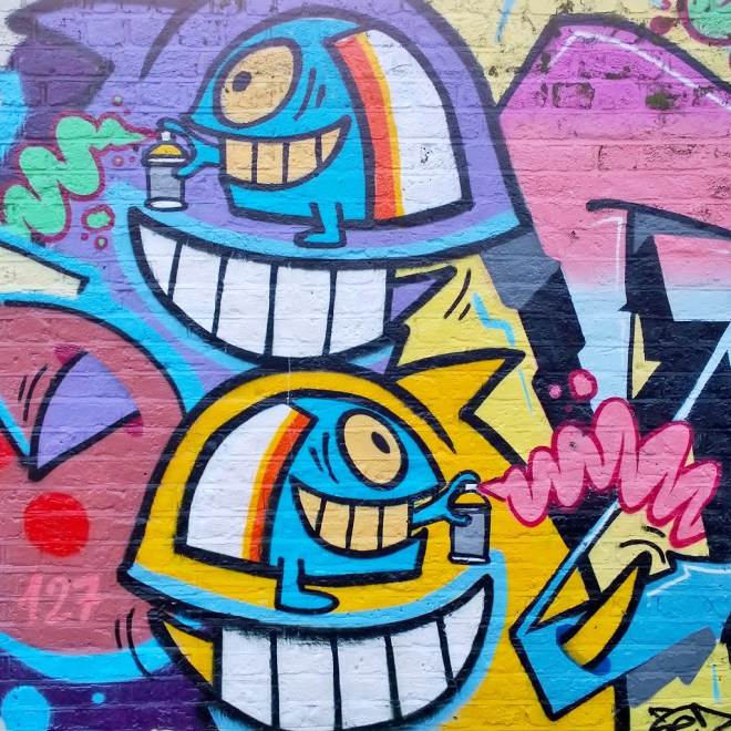 Close up of Pez work near to the tower on the canal