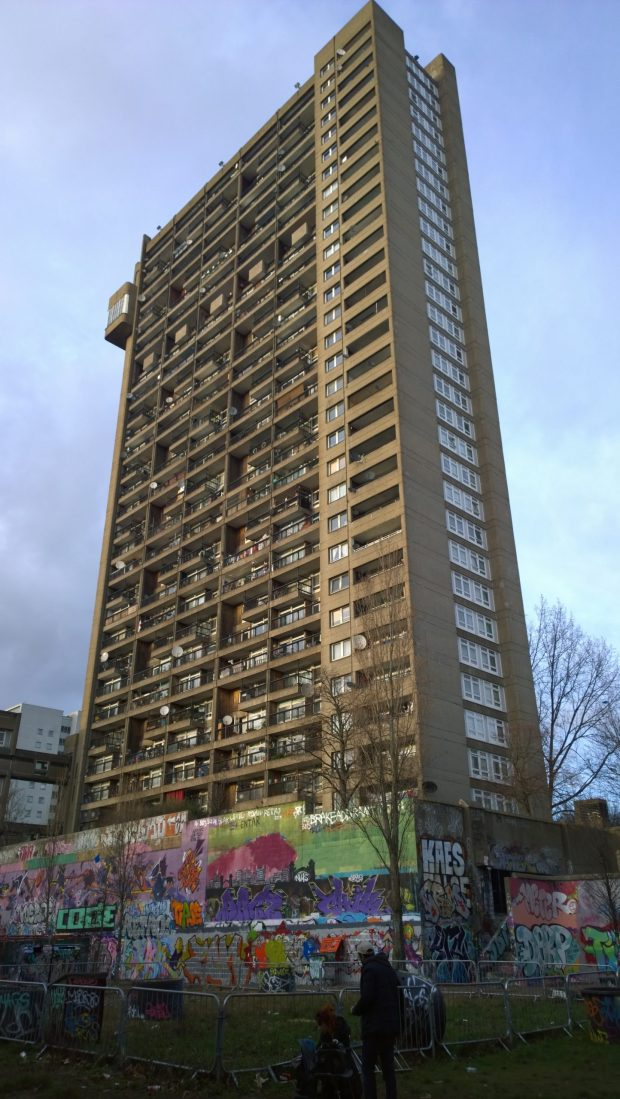 The 98 metre tall tower with graffiti wall