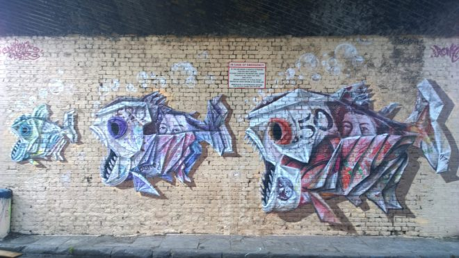 Airborne Mark and Irony Piranha collaboration on Torbay Street in Camden.  Now unfortunately inaccessible
