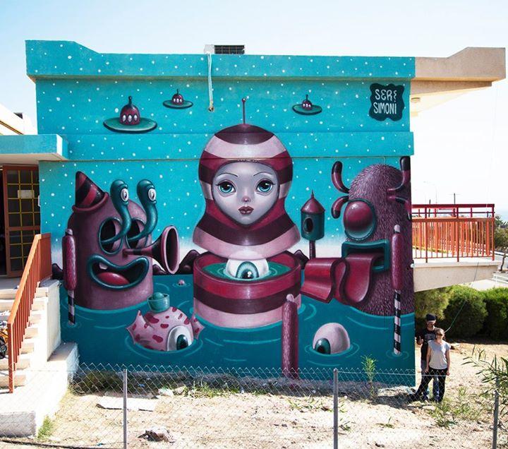 Simoni Fontana artwork. She is a female street artist from Greece