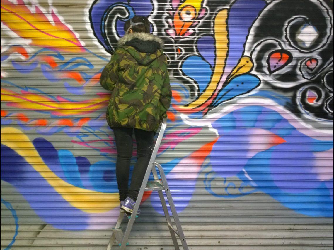 Pixie painting at the Croydon Paint Jam