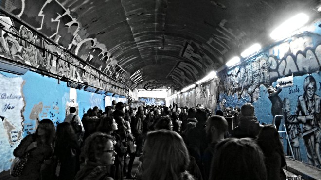 The Banksy Tunnel was turned blue