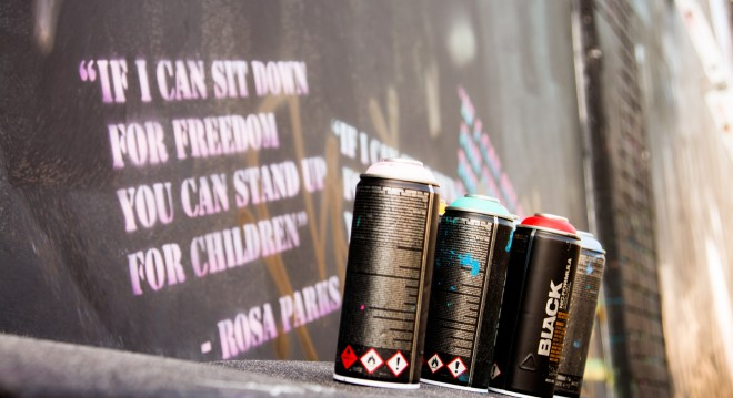 Spray cans and a quote from Rosa Parks picture courtesy of Rob Wilson Jnr