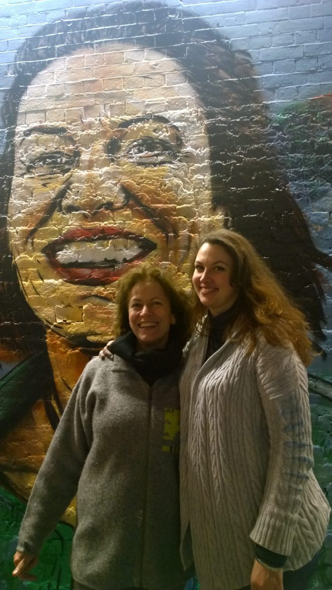 Stephanie Thieu gave a workshop the day before and then painted with her mother over from France.  Her mural was a portrait of her mum