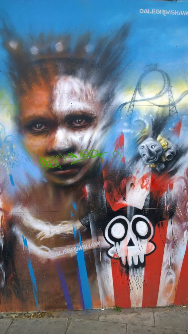 Just round the corner this work from Dale Grimshaw can be seen