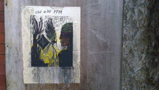 Jonesy art on hoardings at the Calls