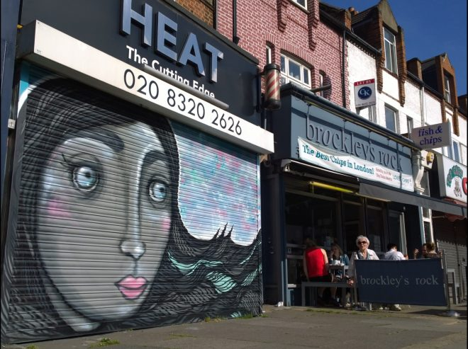 Local artist Mimi Soan painted this shutter on Brockley Road