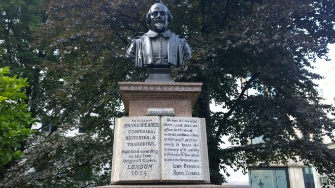 Tribute to Condell and Heminge in the St. Mary Aldermanbury Gardens
