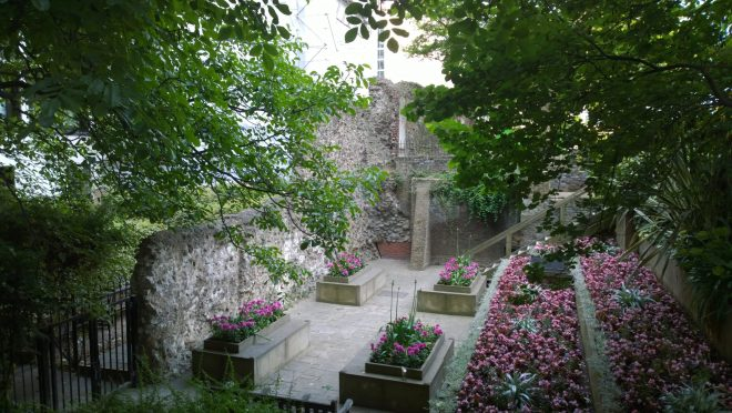 St. Alphege Gardens with a section of Roman Wall just off from Wood Street