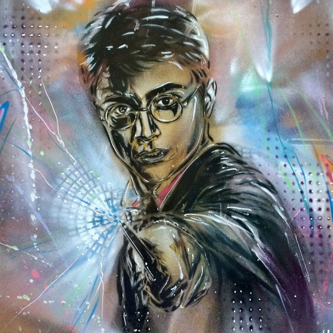 Harry Potter stencil street art by Paul Don Smith