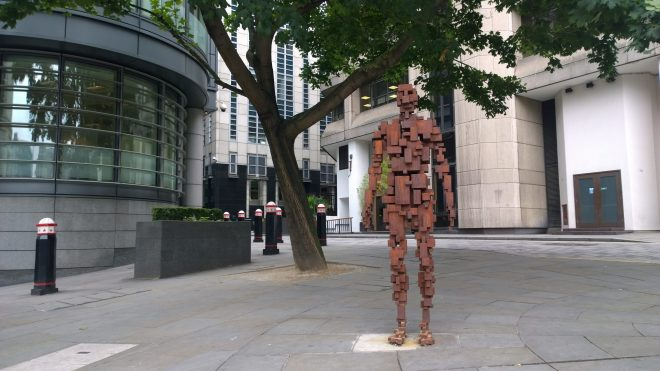 Anthony Gormley sculpture on the corner of St. Bride Street