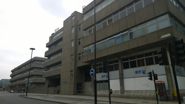 The brutalist Baynard House.  The Seven Ages of Man is in a publicly accessible courtyard inside