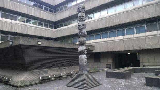 The totem pole-esqe Seven Ages of Man
