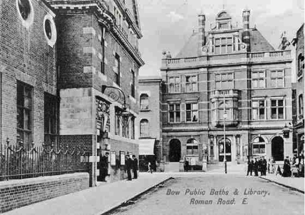 Bow public baths with library in the foreground circa 1914