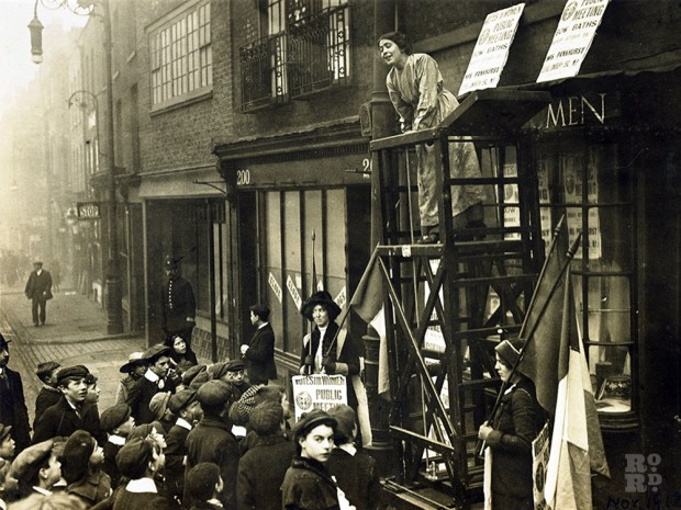 Sylvia Pankhurst outside the old Bakers at 198 Bow Road which she moved into