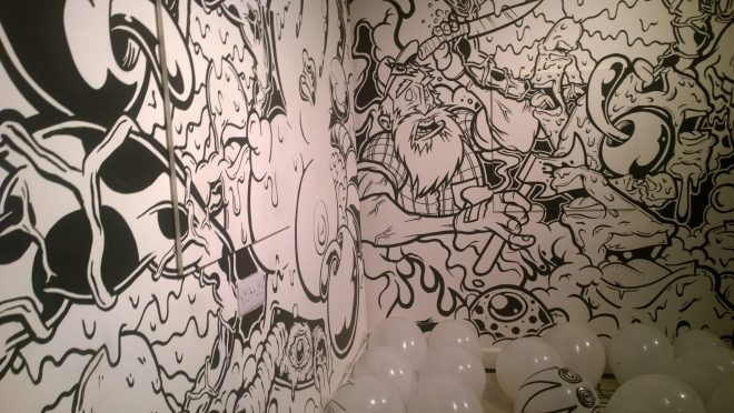 A collaboration of some of Londons best known street artists on the walls of BSMT Space