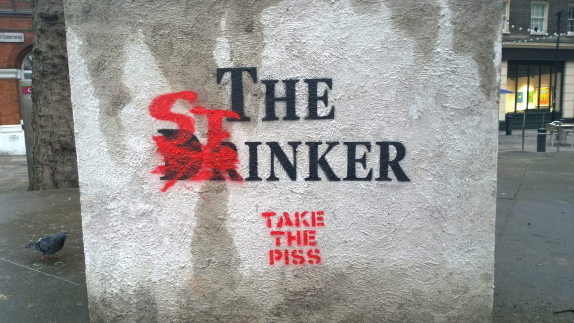 The renamed plinth showing the name change from the drinker to the stinker