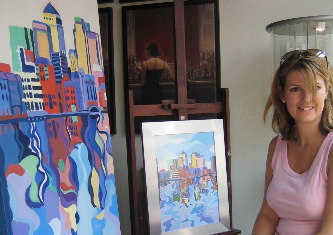 Sarah Fosse Artist in her studio