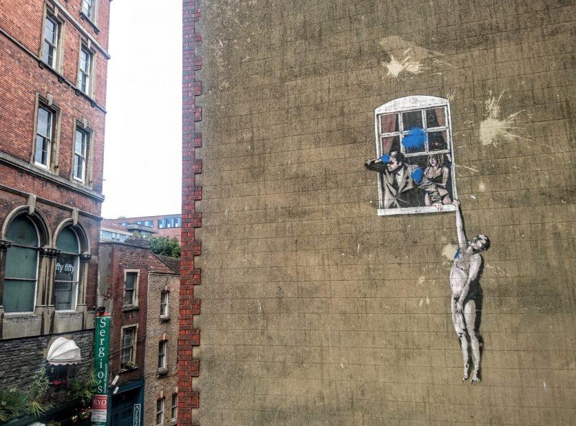 Banksy's well hung lover street art in Bristol