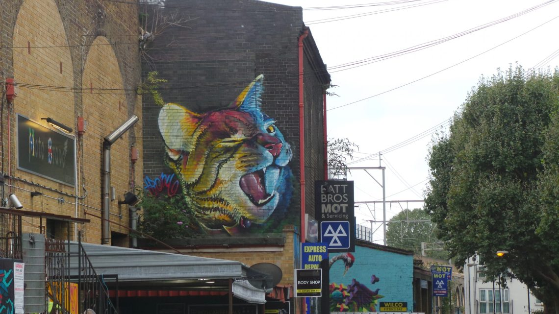 A giant winking cat from Irony on Clare Street in Bethnal Green