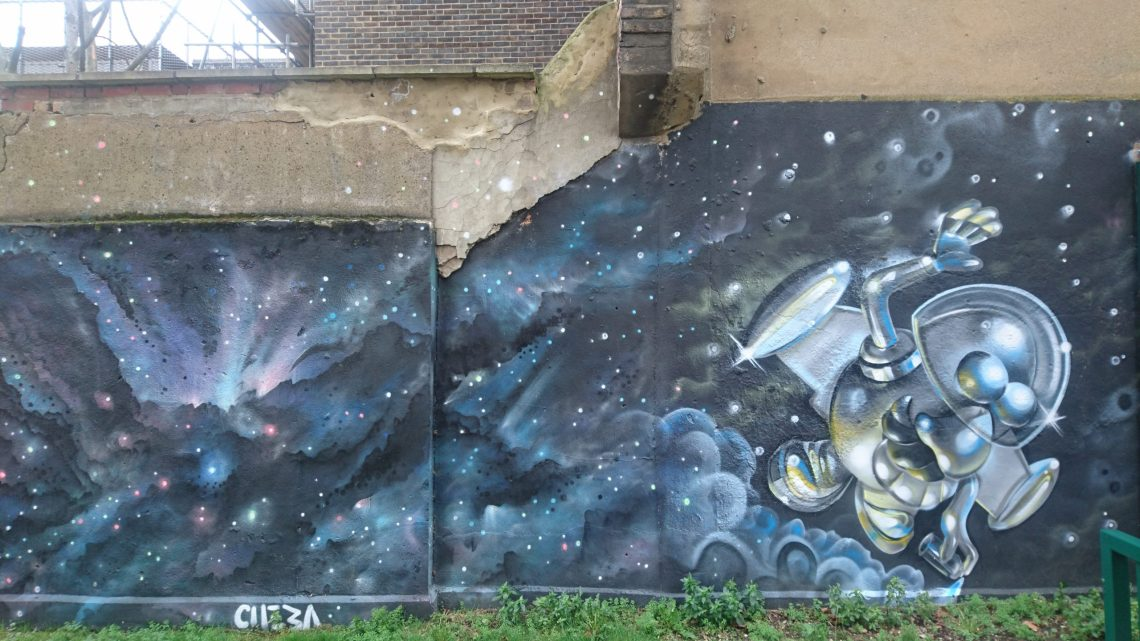 A piece of street art by Cheba on the Ferdinand Estate in Camden