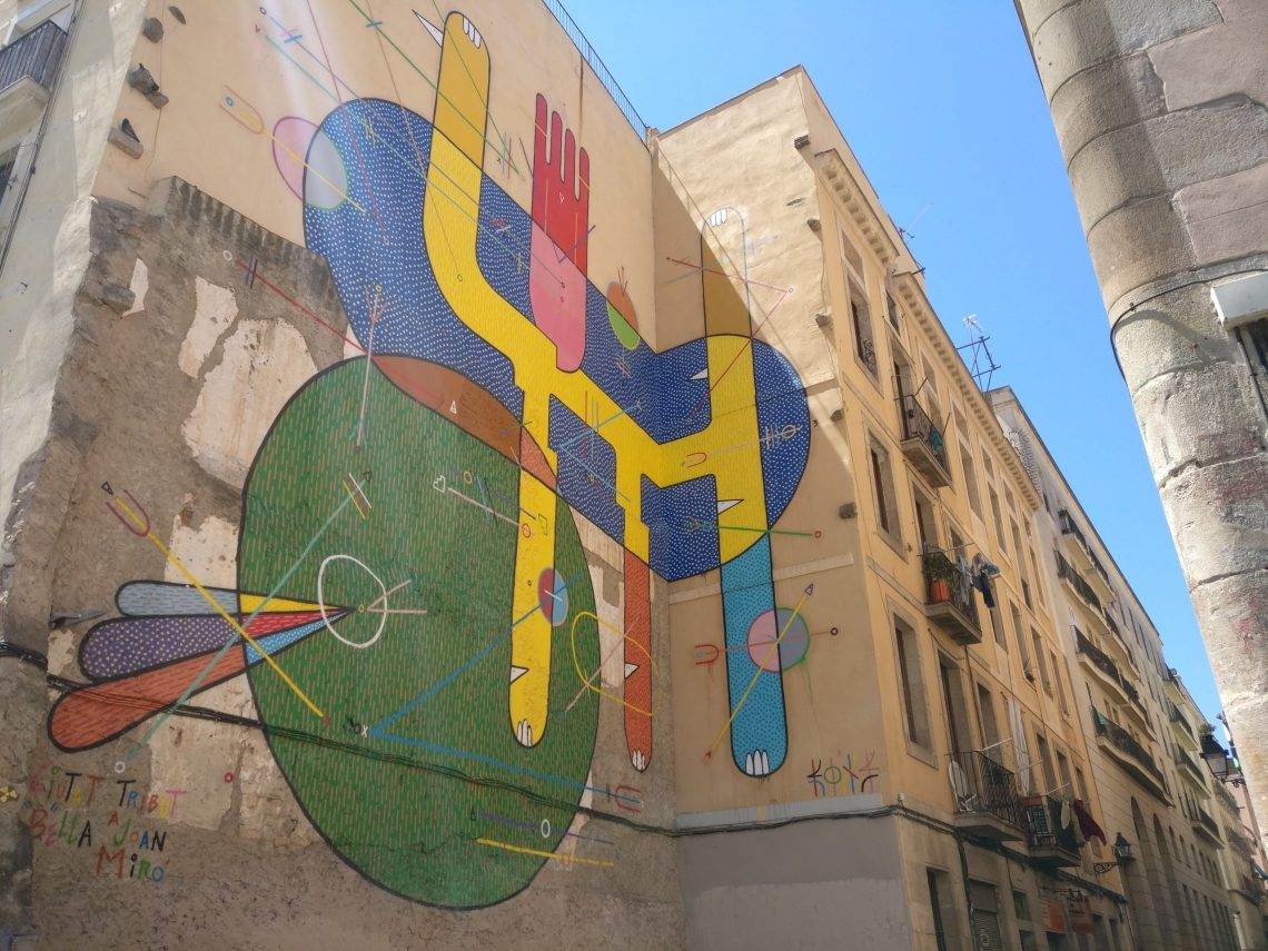 Mural tribute to Joan Miro from sixe parades on the corner of Carrer de la Riereta in Barcelona
