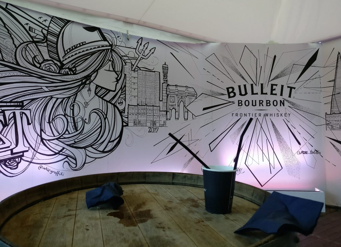 Street Art Mural by Inkie and Rose Harley in the Bulleit tent for London Food Month
