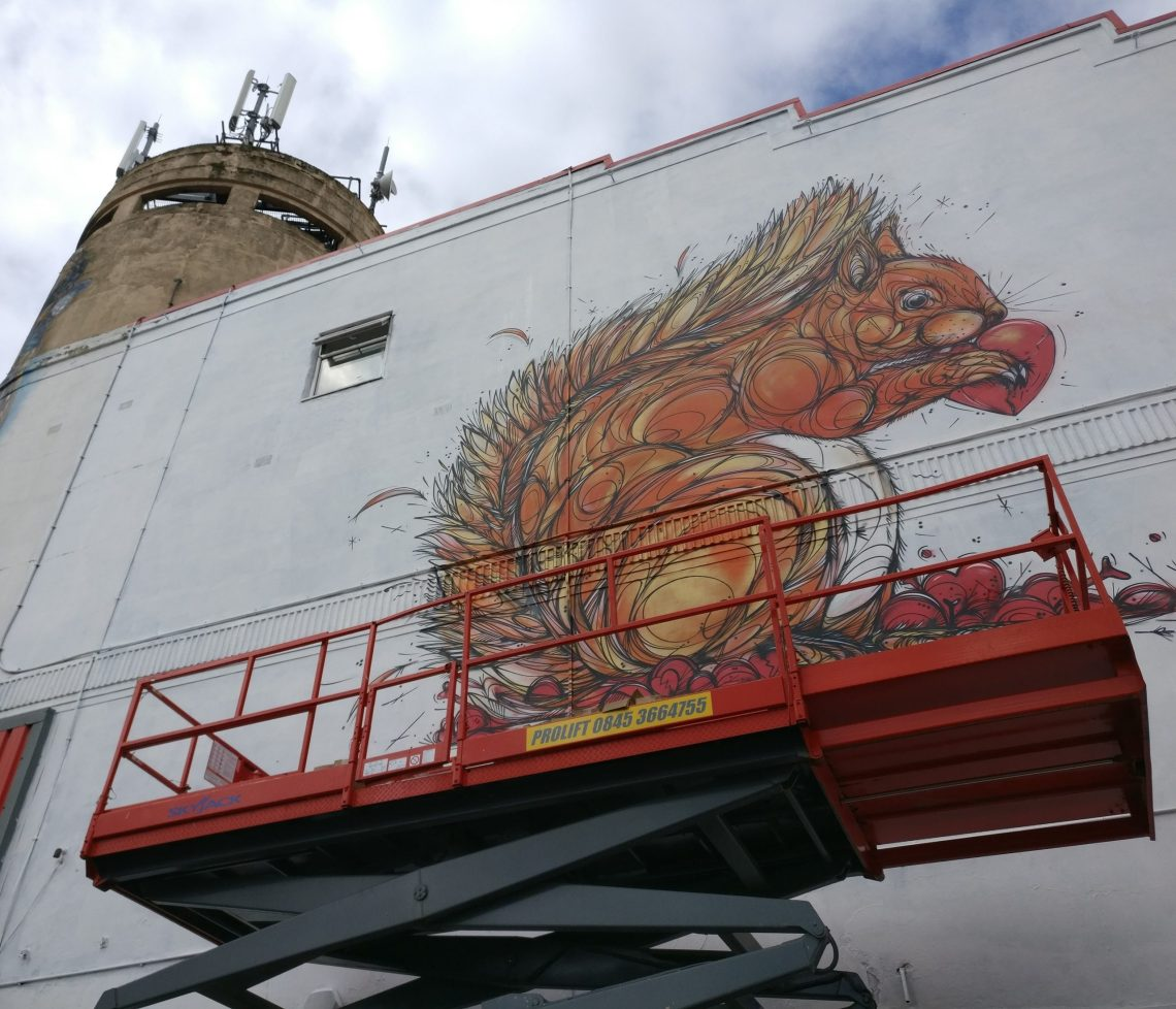 Dzia mural on the Redpoint Climbing Centre for Upfest 2017